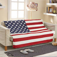 Wholesale Hotel Size Bedding - Wholesale- Cozzy Thicker Soft Warm Sherpa Fleece Couch Throw Blanket for Bed Sofa (USA American Flag) Child or Adult Size 70x100 130x160cm