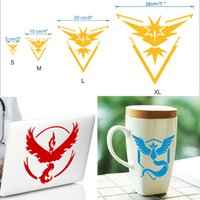 Wholesale Laptop Logo Stickers - Poke go Team Valor Mystic Instinct Articuno Moltres Zapdos Logo Wall Car Stickers Pocket Monster Decal Film iphone Laptop PC Samsung WX-S12