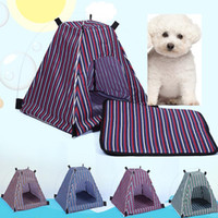 Lit Étanche Pour Chat Pas Cher-Été Animal domestique Chien chien amovible Détachable imperméable à l'eau Oxford Tissu Pet Tent Stripe Style Outdoor Travel Pet Bed Supplies WX-G17