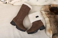 Wholesale Women Wearing Fur Heels - Two Wearing Styles Snow Boots Woman New Designer Square Heel Warm Fur Inside Fashion Ankle Boots Black Winter Shoes Double Box Size 40