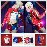 Wholesale Clown Music - 2016 NEW movie Suicide Squad Harley Quinn female clown cosplay costume clothing halloween anime coat jacket 4pcs set uniform