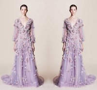 Wholesale Purple V Neck - Fairy Colorful Applique V Neck Prom Dresses 2017 Light Purple Illusion Long Sleeve Tulle A Line Evening Gowns Custom Made Formal Party Dress