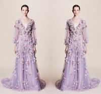 vestido roxo colorido venda por atacado-Fairy colorido applique v neck vestidos de baile 2017 light purple illusion manga longa tule a line vestidos de noite custom made party formal dress
