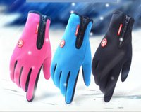 Wholesale Red Climbing Gloves - Outdoor waterproof gloves touch screen male wind riding riding line full refers to the zipper movement winter warm fleeing climbing skiing