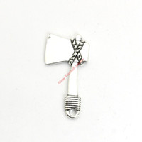 Wholesale Bracelet Making Tools - 12pcs Antique Silver Plated Tool AX Charms Pendants for Bracelet Jewelry Making DIY Necklace Craft 42x21mm