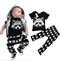 Wholesale Leggings Cross Girls - INS Children Clothes Sets Boys Girl Fashion Pure Cotton Fox Head T-shirt Tops + Pants Cross Leggings 2 piece Outfits KB317