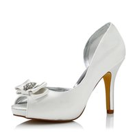 Wholesale Satin White Platform - 2017 Dyeable Satin with Bow and Rhinestone Upper Wedding Dress shoes Platform White Color Wholesale Women Bridal Wedding Shoes Made in China