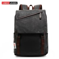 Wholesale Magic Zip - MAGIC UNION Hot Sale Leather Backpack Men's Casual & Travel Bags Oil Wax Leather Laptop Bags College Style Backpacks Mochila Zip