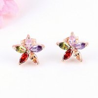 18K Rose Gold Plated AAA + Multicolor / White Cubic Zirconia CZ Flores Stud Earrings para Mulheres Best Gift