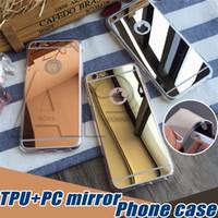 tpu tampon muhafazası geri toptan satış-Iphone XR için XS MAX X 8 Artı Samsung S10E S10 Artı Ayna Vaka Geri Şok-Emilim TPU Tampon Koruyucu Kılıf