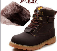 Wholesale casual ankle boots for men - New Arrived Autumn And Winter Boots For Men Snow Boots With Fur Warm Casual Shoes Mens Outdoor Martin Boots Lace-up Genuine Leather