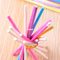 Wholesale Bakery Wedding Cakes - Colorful Cake Pop Lollipop Stick Paper Lollypops Candy Chocolate Sugar Pen Dessert Decoration Tools Bakery Accessories 10CM 4''