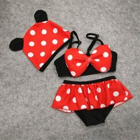 Wholesale Girl S Minnie - 2 Color Girls Minnie Mickey dot Swimwear hat 3pcs suit DHL Swimsuit Costume Girls Swimsuit Bathing Swimwear Bowknot Bikini Suit B001