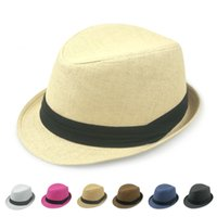 Wholesale Korean Straw Hats - Wholesale-Outdoor summer jazz hat male hat Ms. Korean version of the British spring and summer sun hat straw hat