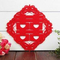 etiqueta de la pared de la boda china al por mayor-30x30 cm chino doble felicidad pegatinas decoraciones de la boda pared roja doble felicidad decoración decoración del sitio de la boda de China