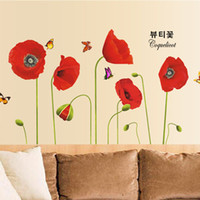 Wholesale Red Poppy Wall Stickers - Lovely Red Poppy Flower Wall Stickers Floral Wall Decals Wallpaper for Kids Girls Bedroom Living Room Deocrations WS519