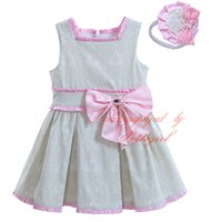Wholesale G Wholesale Kids Clothing - Pettigirl Cute Girls Summer Dresses With Headwear Bow Sash Decoration Flower Jacquard Print Wear Baby Kids Clothes Boutique G-DMGD906-799