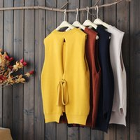 Wholesale Cute Sweaters For Women - Cute style Autumn Sweaters Top for women Sleeveless Simple O Neck Women Tanks vest Yellow Red Blue and White colors