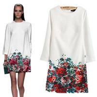 Wholesale Sexy Mini Kimono - Free shipping 2016 Women Autumn Winter Dress Handmade Printing O-Neck Dresses Casual Long-Sleeve Vestidos