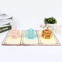 Wholesale Cards For Valentines - 2016 new 3D Merry-Go-Round Greeting Cards for Valentine Children Kids,Creative Hollow Out Handmade Romantic Invitation Cards