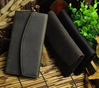 Wholesale Dress Best Popular - Crazy Horse Leather Man Wallet Long Shape Clutch Bag Genuine Leather Popular Hot Sales Simple Credit Card Wallets Best Seller New Arrivial