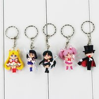 Wholesale sailor moon action figures - Anime Cartoon Sailor Moon Keychain PVC Action figure Pendants Keychain for kids gift free shipping retail