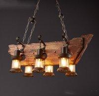 Wholesale Wood Glasses Shop - LOFT Vintage Style Creative Wood Art Lighting Fixture Bar Coffee House Clothes Shop Corridor Glass Chimney Pendant Lamp Free Shipping