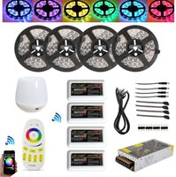 Wholesale 12v Dimmable Led Lighting Controller - 20M 5050 RGBW RGBWW RGB Mi Light WIFI Led Strip Waterproof Dimmable 12V 24V+4pcs Controller + RF Remote + Power Supply With Plug