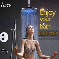 Wholesale shower kits for sale - Group buy Luxury New functions ceiling bath round shower overhead rain shower head set thermostatic shower kit