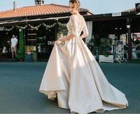 Wholesale silk back wedding dress resale online - 2018 Newest Champagne Wedding Dresses Sheer Neck Half Sleeves Appliques Lace Satin Long Wedding Gowns See Through Back Vintage Bridal Dress