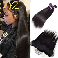 Wholesale Remy Hair Pieces - 3Pcs Peruvian Virgin Hair Straight With Lace Frontal 4Pcs Lot Straight Virgin Hair Lace Frontal Closure With Bundles 100% Human Hair