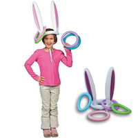 Wholesale Old Toy Easter Bunny - Wholesale- Easter Inflatable Bunny Ears Hat Ring Toss Game Fun Game Kids Party Ferrule Tools Birthday Decor Children Outdoor Gags Toys