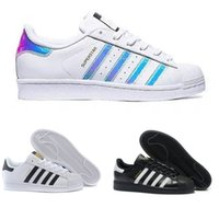 Wholesale Buttons Clear - 2018 Originals Superstar White Hologram Iridescent Junior Superstars 80s Pride Sneakers Super Star Women Men Sport Casual Shoes EUR 36-45