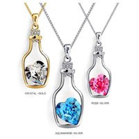 Wholesale Ship Bottle Charm - 2016 Fashion Romantic Alloy Necklace Chain Drift Bottle Rhinestone Pendant Necklaces For Women Jewelry Wholesale Free Shipping