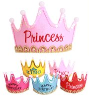Freies DHL-LED-Licht-Prinzessin König-Geburtstags-Party Crown Cap Hairpin Kinderferien Party Supplies Luminous Geburtstag Crown Cap E729L