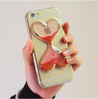 Compra Liquido Di Clessidra-Dynamic Liquid Glitter Love Quicksand Float Clear Copertina di Sandglass TPU Caseglassglass per iPhone 7 6 6s plus 5 5S SE