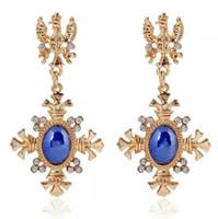 Wholesale Orange Earrings Studs - Christianity Stud Earrings 2017 Elegant Stone Earring Women Cross Charm Earrings Blue White Orange Exquisite Earrings Lady Party Jewelry