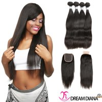 Wholesale Wholesale Cheap Hair Ties - Brazilian Virgin Hair With Closure Straight Hair Cheap Hair Extensions 4 Bundles With Closure Density 130% Hand Tied Swiss Lace