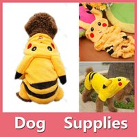 Wholesale Pokemon Ornament - Pet Dog Puppy Cat Winter Clothes Coat Apparel Puppy Warm Jacket Hoodie Poke Mon Go Pikachu Costume