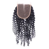 Wholesale Cheap Kinky Curly - Cheap Virgin Kinky Curly Closure 4X4 Peruvian Curly Human Hair Lace Closure Bleached Knot Free MIiddle 3 Part Closure