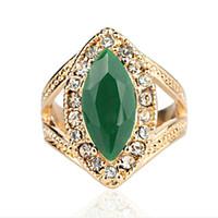 Wholesale Green Malachite Gem - Trendy Resin Wedding Imitation big Surface green Gem rhombus Olivine ring Fusiform Malachite ring Emerald jade rings for Women 2017 j280