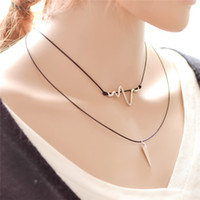Wholesale Punk Multilayer Chain Necklace - ECG electrocardiogram spine pendants punk choker necklaces multilayer Tattoo Chokers for sexy women statement jewelry gift 161497