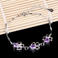 Wholesale Still Bracelets - Love is still authentic Korean jewelry happiness Clover Amethyst 925 sterling silver bracelets wholesale trade
