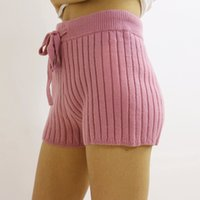 Wholesale Drawstring Underwear - Skinny Striped Knitted Feminas Shorts Fashion Drawstring Elastic Waist Ultra Short Underwear Chic One Size Women Bottoms