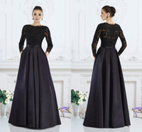 Wholesale Mother Brid Dresses - 2016 Janique Mother Of Brid Dresses Long Sleeves Jewel Lace Applique A Line Satin Black Women Evening Formal Dress Prom Party Wedding Gown