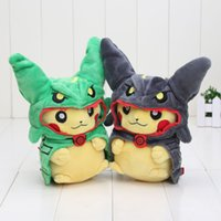 Wholesale Soft Pikachu Hat - 2pcs set 21cm Poke Pikachu Plush Toy Kawaii Pikachu With Rayquaza Hat Cosplay Soft Stuffed Plush Doll