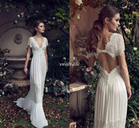 Wholesale bohemian long sleeve chiffon wedding dresses online - Vintage Sheath Wedding Dresses Lihi Hod Lace Bohemian Deep V neck Backless Boho Bridal Gowns Floor Length Applique Short Sleeves Custom