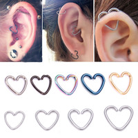 Wholesale Cartilage Hoops - 3Pcs Heart Star Shaped Tragus Piercing Hoop Rings Helix Cartilage Tragus Daith Ear Studs Lip Nose Rings Piercing