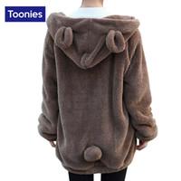 Wholesale Wool Coats For Women Korean - Wholesale- New 2017 Spring Svitshot Korean Kawaii Bear Hooded Sweatshirt Fleece Wool Coat Tracksuit for Women Warm Zip-up Hoody Coat Female