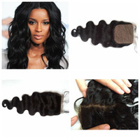 Wholesale peruvian remi hair online - Mongolian indian remi hair silk top closure frontal piece body wave straight all available fast delivery time G EASY